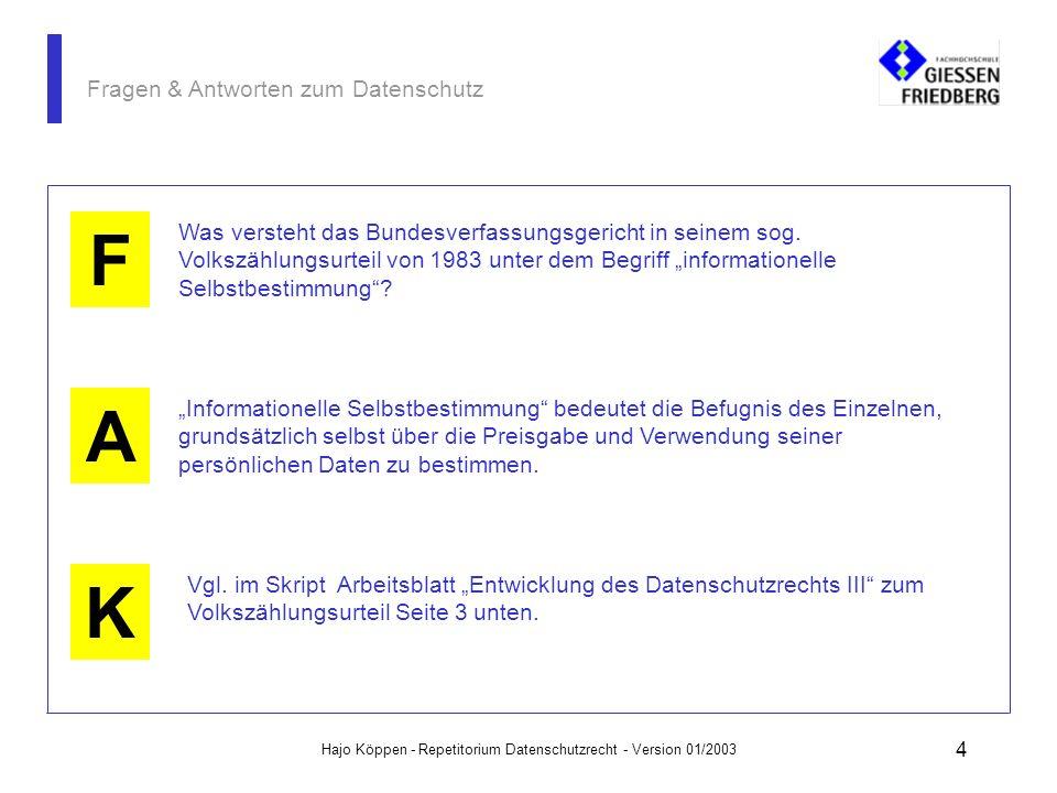 Hajo Köppen - Repetitorium Datenschutzrecht - Version 01/2003 24 Fragen & Antworten zum Datenschutz A K F Sind Bewerber von sich aus verpflichtet, bestimmte Eigenschaften zu offenbaren, wenn der Arbeitgeber von seinem Fragerecht keinen Gebrauch macht.