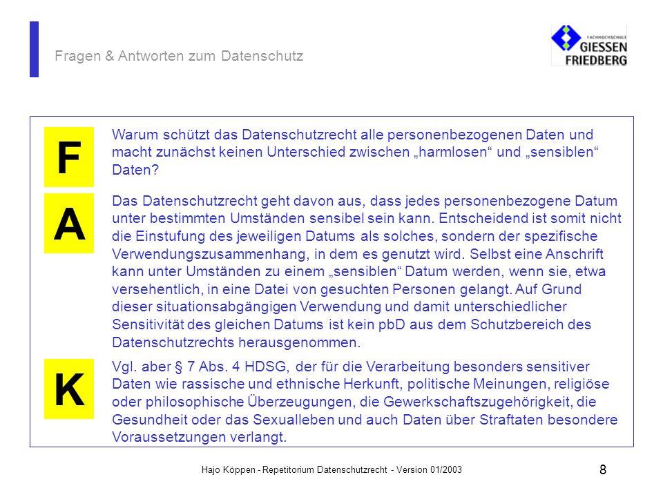 Hajo Köppen - Repetitorium Datenschutzrecht - Version 01/2003 38 Fragen & Antworten zum Datenschutz Wer sich zu Fragen der Datensicherheit (und auch zum Datenschutz) informieren will, der erhält ein vorzügliches Angebot beim: Bundesamt für Sicherheit der Informationstechnik - BSI www.bsi.de A