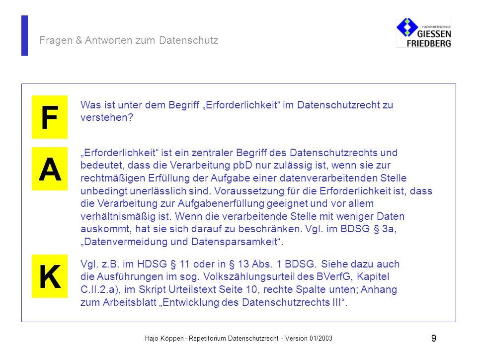 Hajo Köppen - Repetitorium Datenschutzrecht - Version 01/2003 29 Fragen & Antworten zum Datenschutz A K F Auftragsdatenverarbeitung liegt immer dann vor, wenn eine Stelle (Auftraggeber) die Datenverarbeitung, die sie für ihre praktische Arbeit braucht und nutzt, von einem Dienstleistungsunternehmen (Auftrag- nehmer) durchführen läßt.
