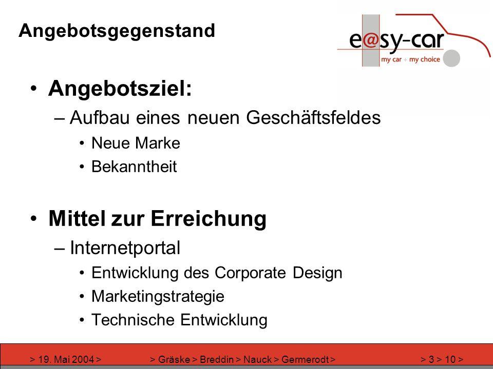 > 19. Mai 2004 >> Gräske > Breddin > Nauck > Germerodt >> 3 > 10 > Angebotsgegenstand Angebotsziel: –Aufbau eines neuen Geschäftsfeldes Neue Marke Bek