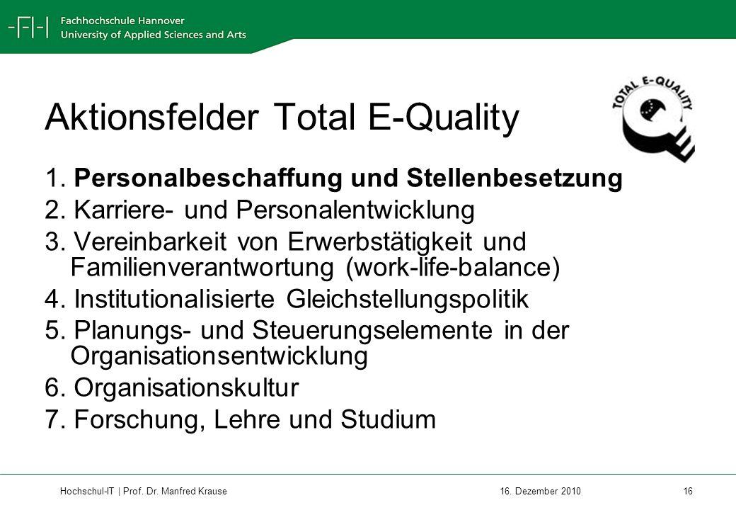 Hochschul-IT | Prof.Dr. Manfred Krause 16 16. Dezember 2010 Aktionsfelder Total E-Quality 1.