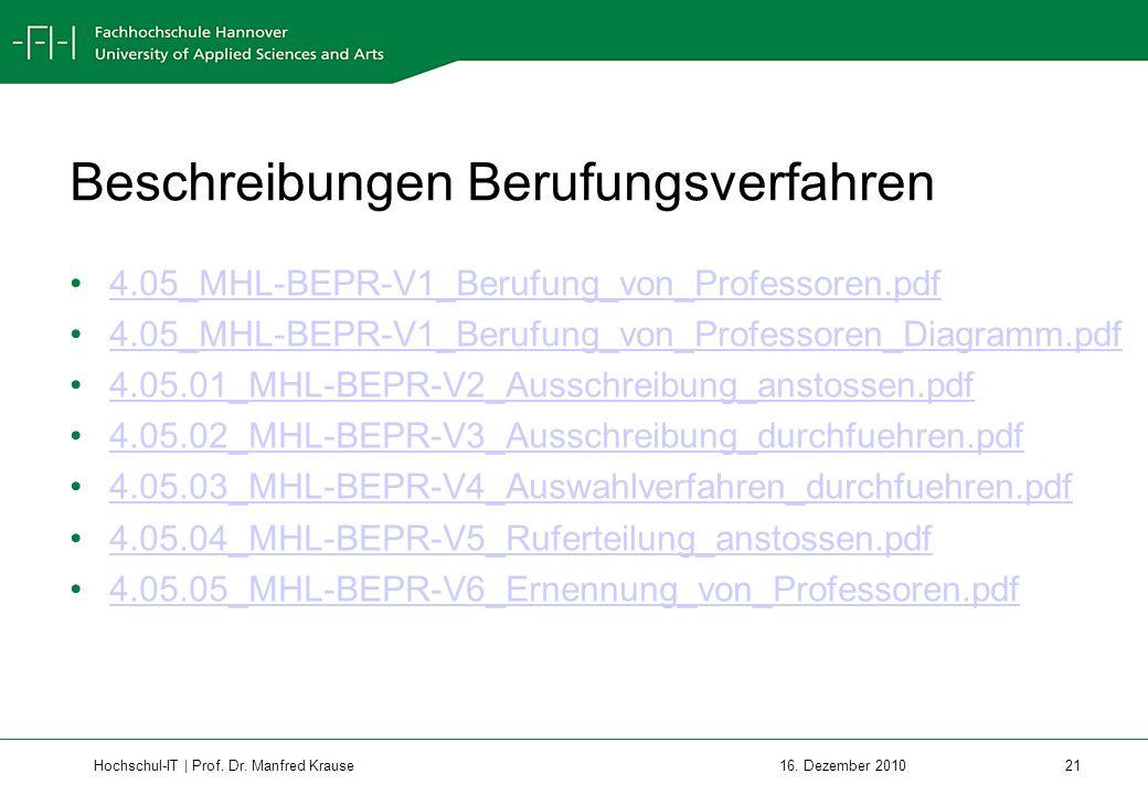 Hochschul-IT | Prof.Dr. Manfred Krause 21 16.