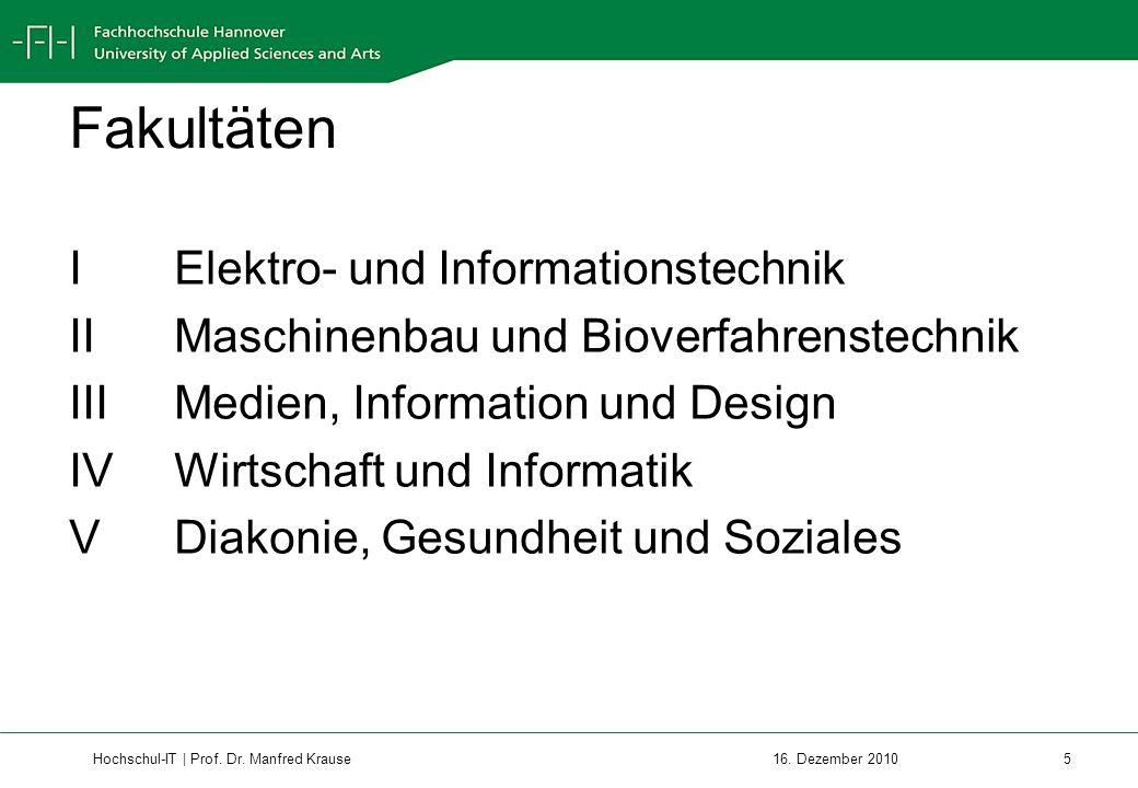 Hochschul-IT | Prof.Dr. Manfred Krause 6 16. Dezember 2010 Leitbild der Hochschule Hannover 1.