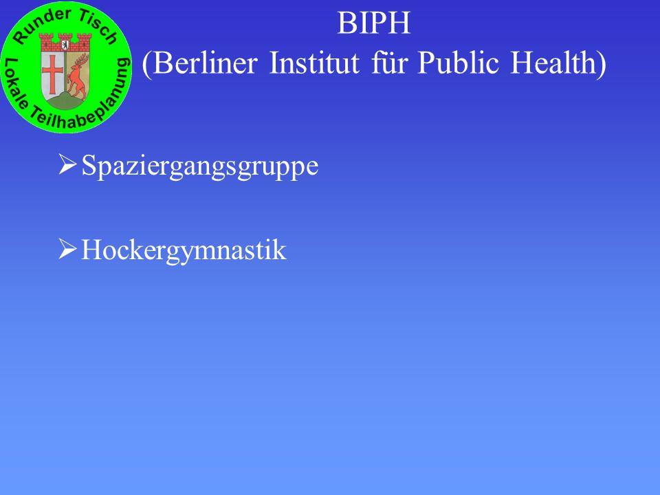 BIPH (Berliner Institut für Public Health) Spaziergangsgruppe Hockergymnastik