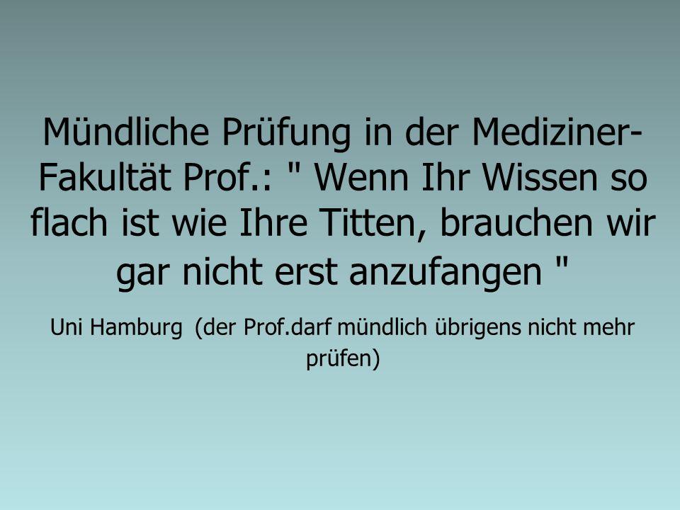 Mündliche Prüfung in der Mediziner- Fakultät Prof.: