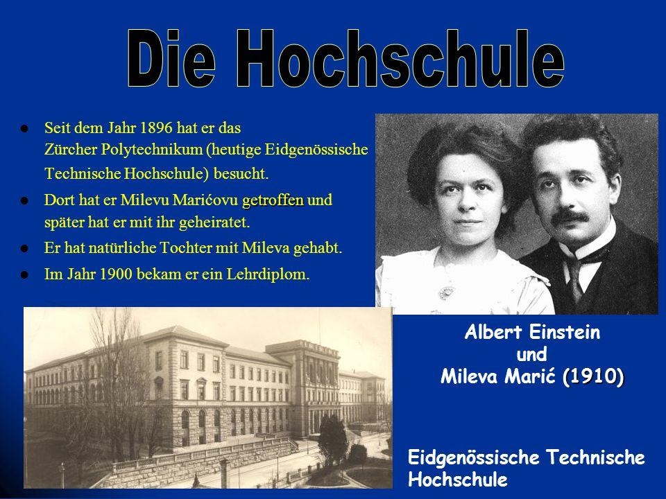 Seit dem Jahr 1896 hat er das Zürcher Polytechnikum (heutige Eidgenössische Technische Hochschule) besucht. getroffen Dort hat er Milevu Marićovu getr