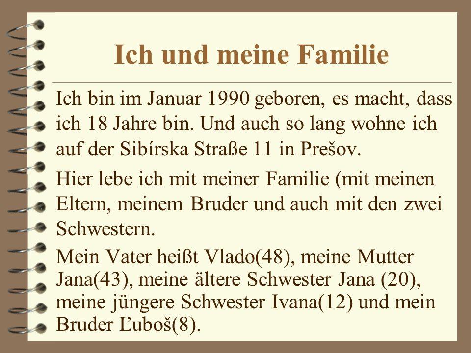 Ich und meine Familie Ich bin im Januar 1990 geboren, es macht, dass ich 18 Jahre bin.