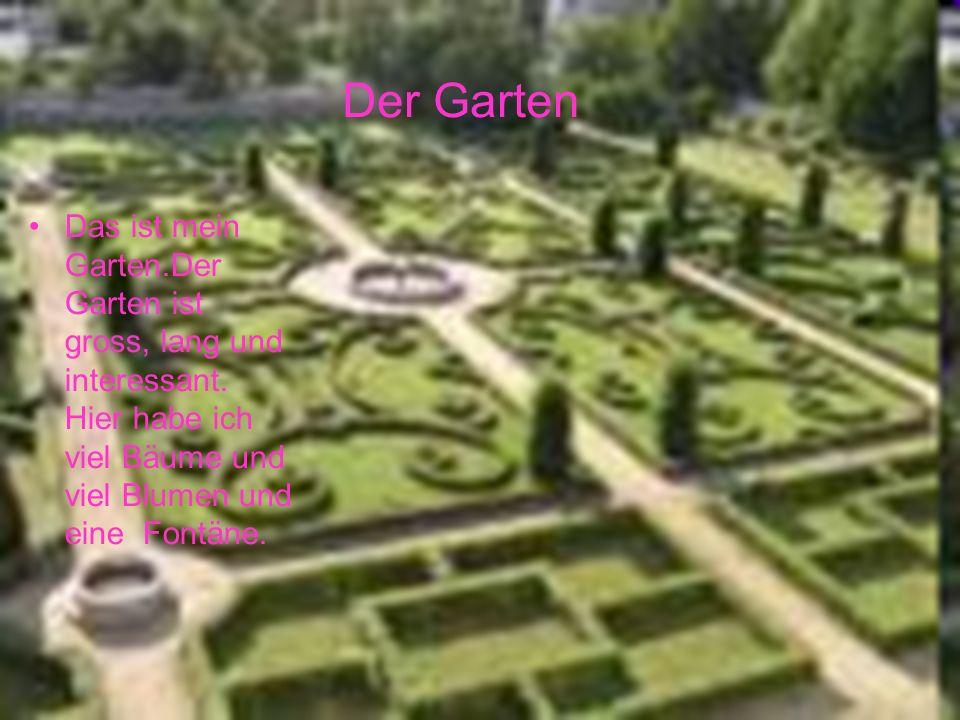 Das ist mein Garten.Der Garten ist gross, lang und interessant. Hier habe ich viel Bäume und viel Blumen und eine Fontäne. Der Garten