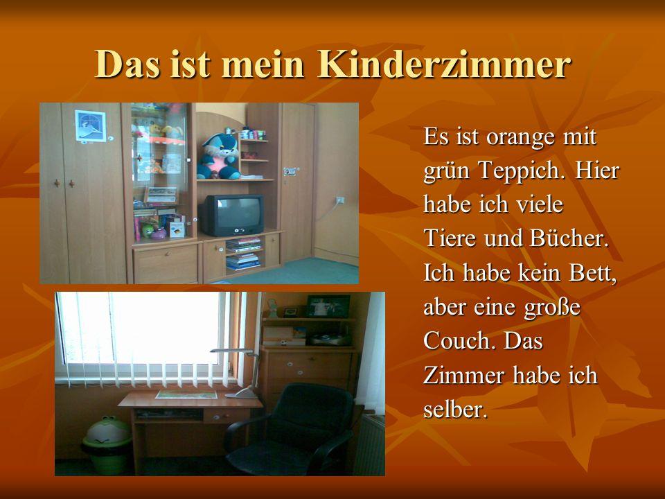 Das ist mein Kinderzimmer Es ist orange mit grün Teppich. Hier habe ich viele Tiere und Bücher. Ich habe kein Bett, aber eine große Couch. Das Zimmer