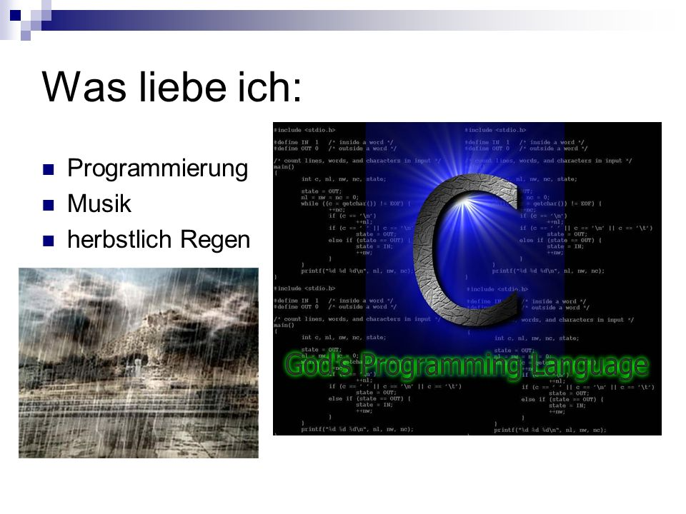 Was liebe ich: Programmierung Musik herbstlich Regen