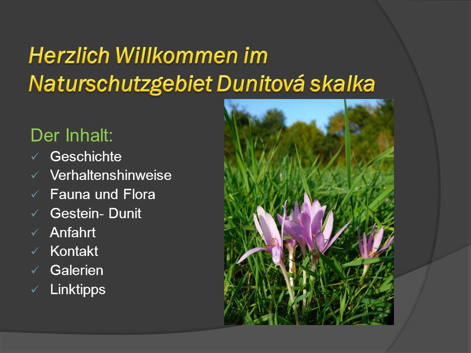 Der Inhalt: Geschichte Verhaltenshinweise Fauna und Flora Gestein- Dunit Anfahrt Kontakt Galerien Linktipps