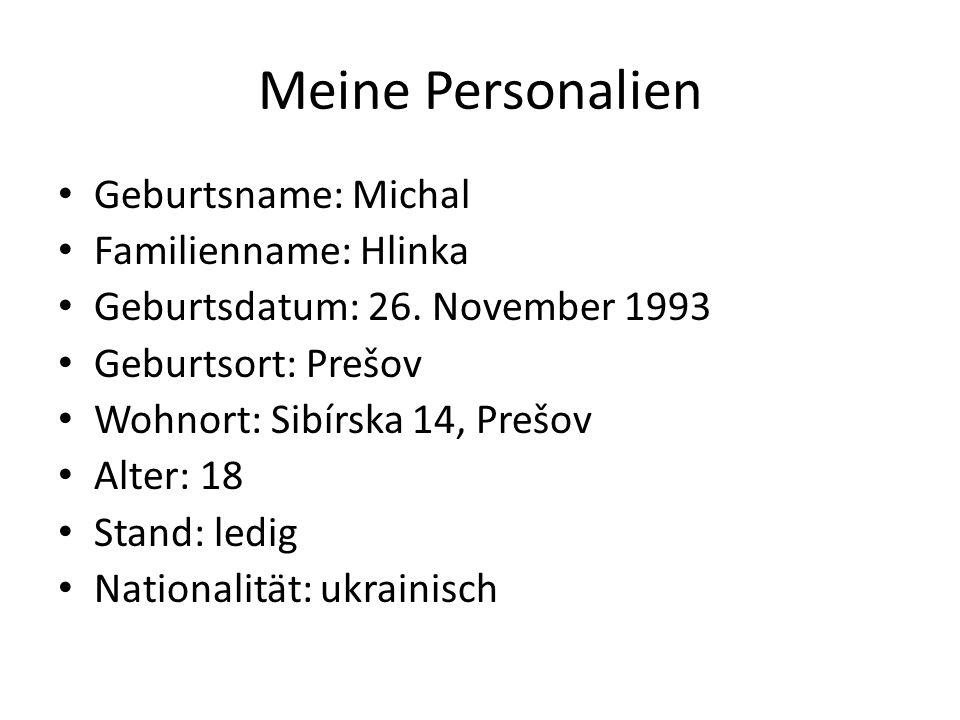 Meine Personalien Geburtsname: Michal Familienname: Hlinka Geburtsdatum: 26. November 1993 Geburtsort: Prešov Wohnort: Sibírska 14, Prešov Alter: 18 S