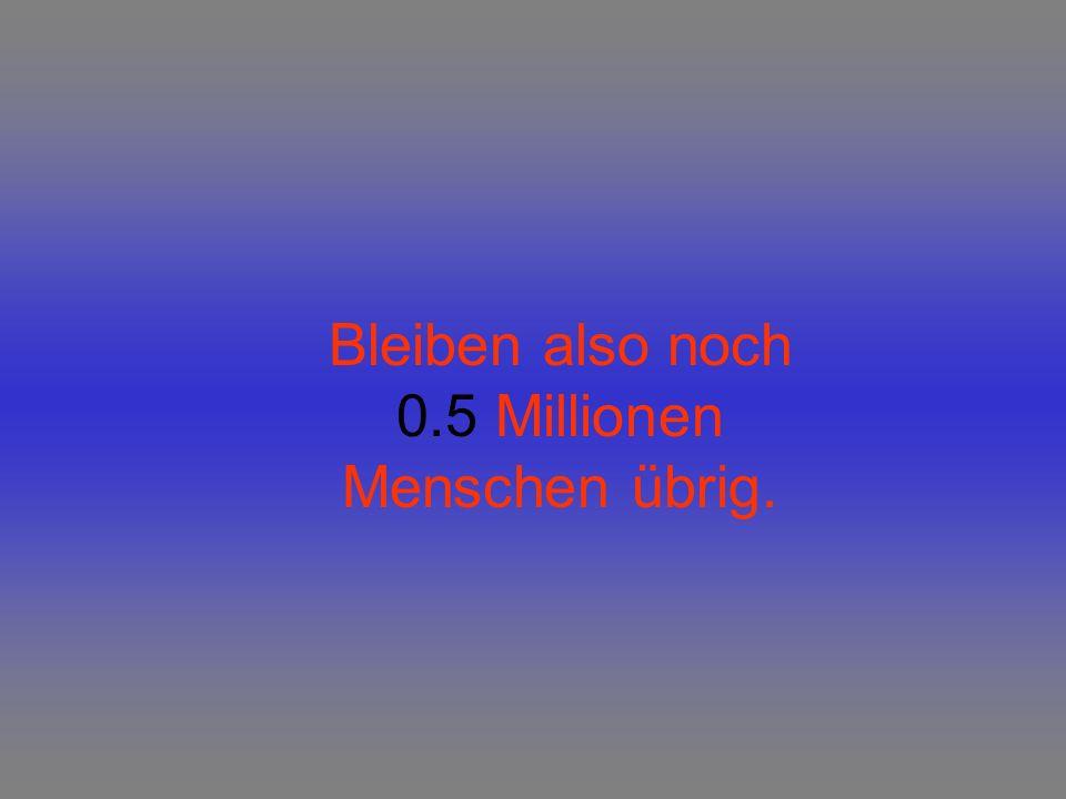 Bleiben also noch 0.5 Millionen Menschen übrig.