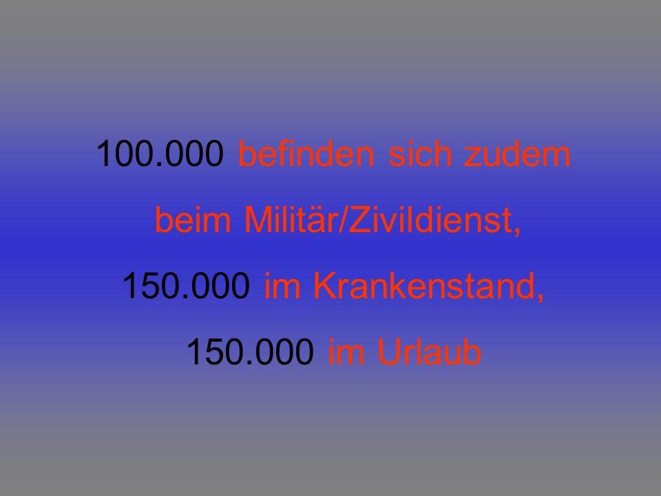 100.000 befinden sich zudem beim Militär/Zivildienst, 150.000 im Krankenstand, 150.000 im Urlaub