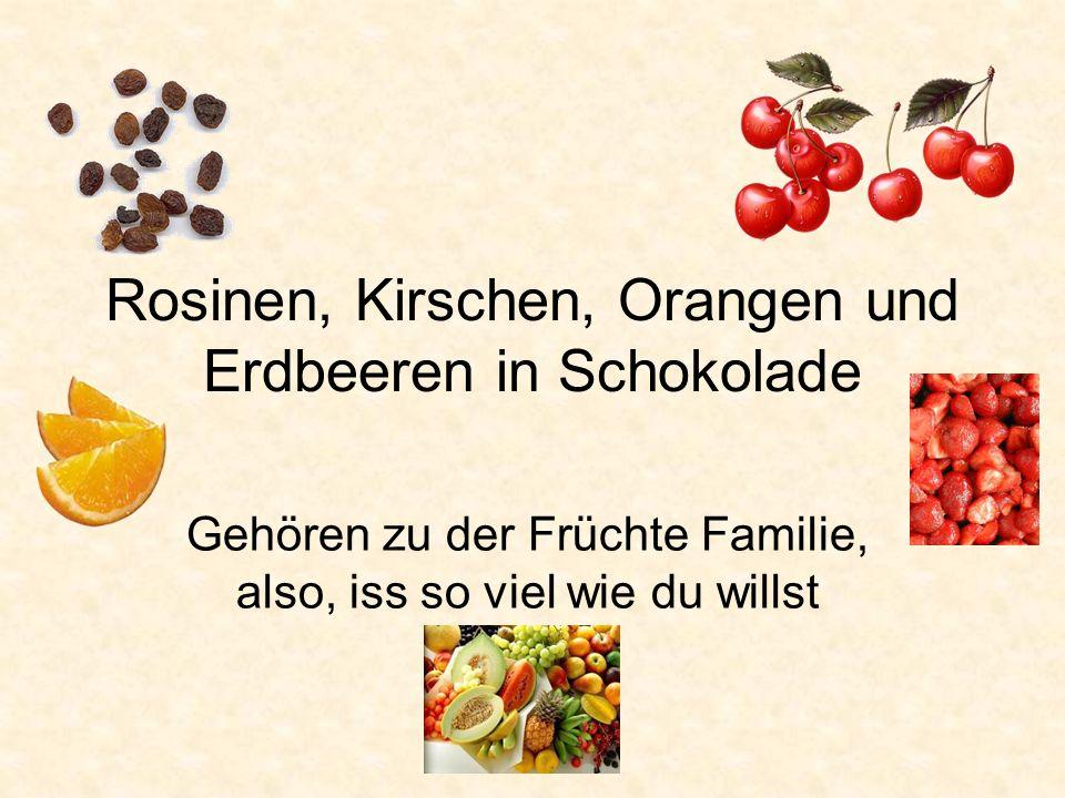 Rosinen, Kirschen, Orangen und Erdbeeren in Schokolade Gehören zu der Früchte Familie, also, iss so viel wie du willst