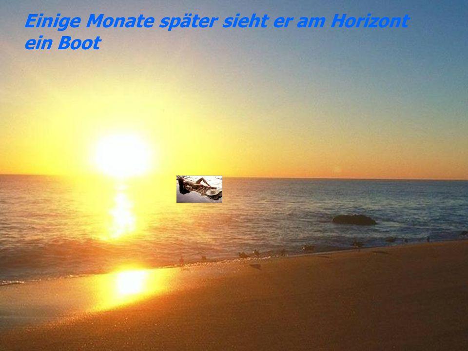 Einige Monate später sieht er am Horizont ein Boot