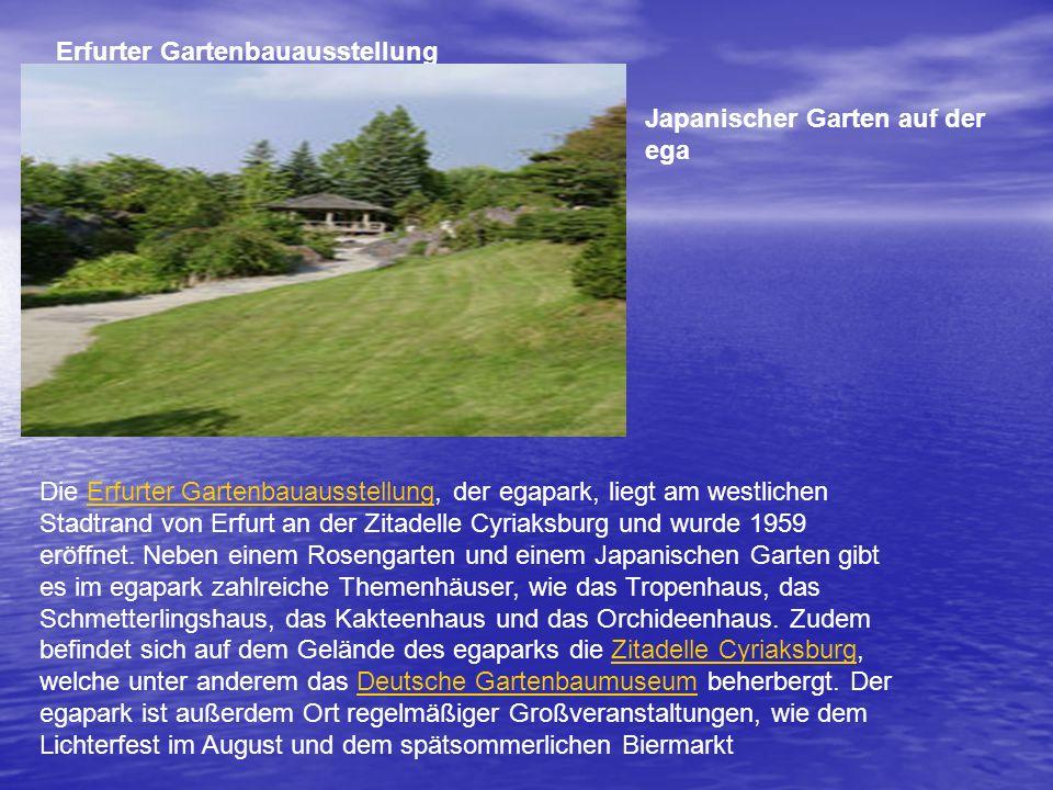 Erfurter Gartenbauausstellung Die Erfurter Gartenbauausstellung, der egapark, liegt am westlichen Stadtrand von Erfurt an der Zitadelle Cyriaksburg und wurde 1959 eröffnet.