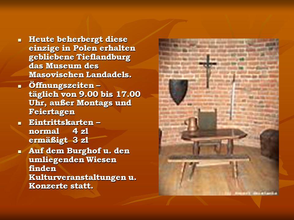 Heute beherbergt diese einzige in Polen erhalten gebliebene Tieflandburg das Museum des Masovischen Landadels.