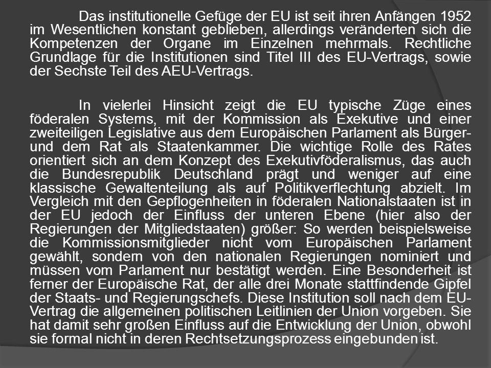 Das institutionelle Gefüge der EU ist seit ihren Anfängen 1952 im Wesentlichen konstant geblieben, allerdings veränderten sich die Kompetenzen der Org