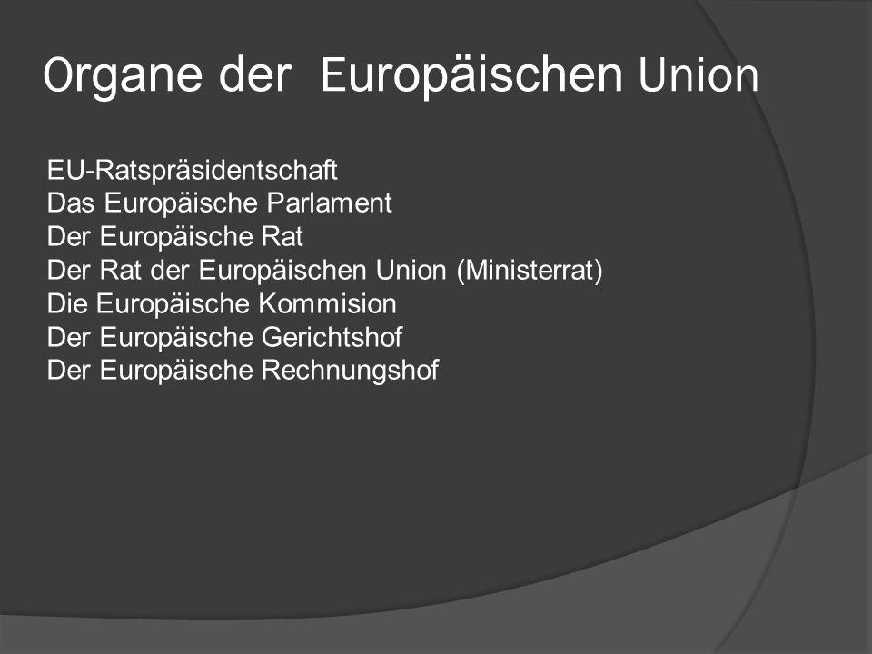 O rgane der E uropäischen Union EU-Ratspräsidentschaft Das Europäische Parlament Der Europäische Rat Der Rat der Europäischen Union (Ministerrat) Die