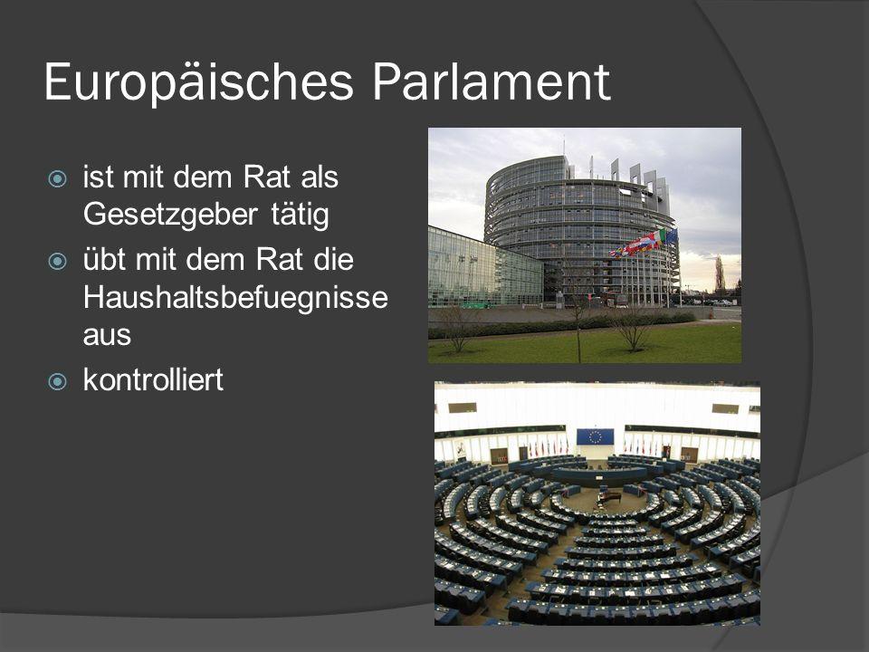 Europäisches Parlament ist mit dem Rat als Gesetzgeber tätig übt mit dem Rat die Haushaltsbefuegnisse aus kontrolliert