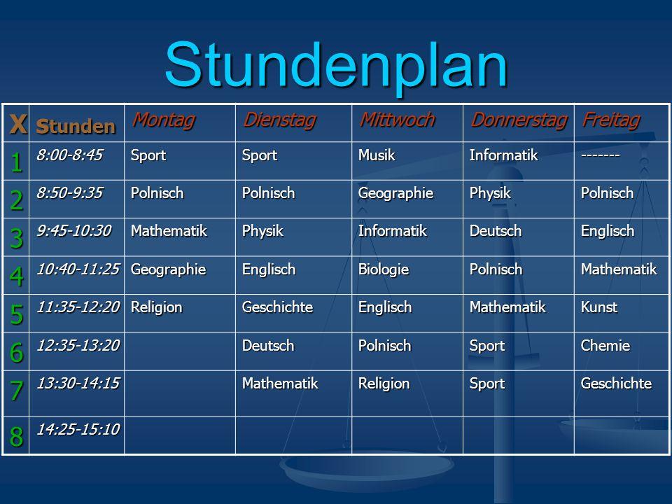 Stundenplan X s tunden MontagDienstagMittwochDonnerstagFreitag 18:00-8:45SportSportMusikInformatik------- 28:50-9:35PolnischPolnischGeographiePhysikPo