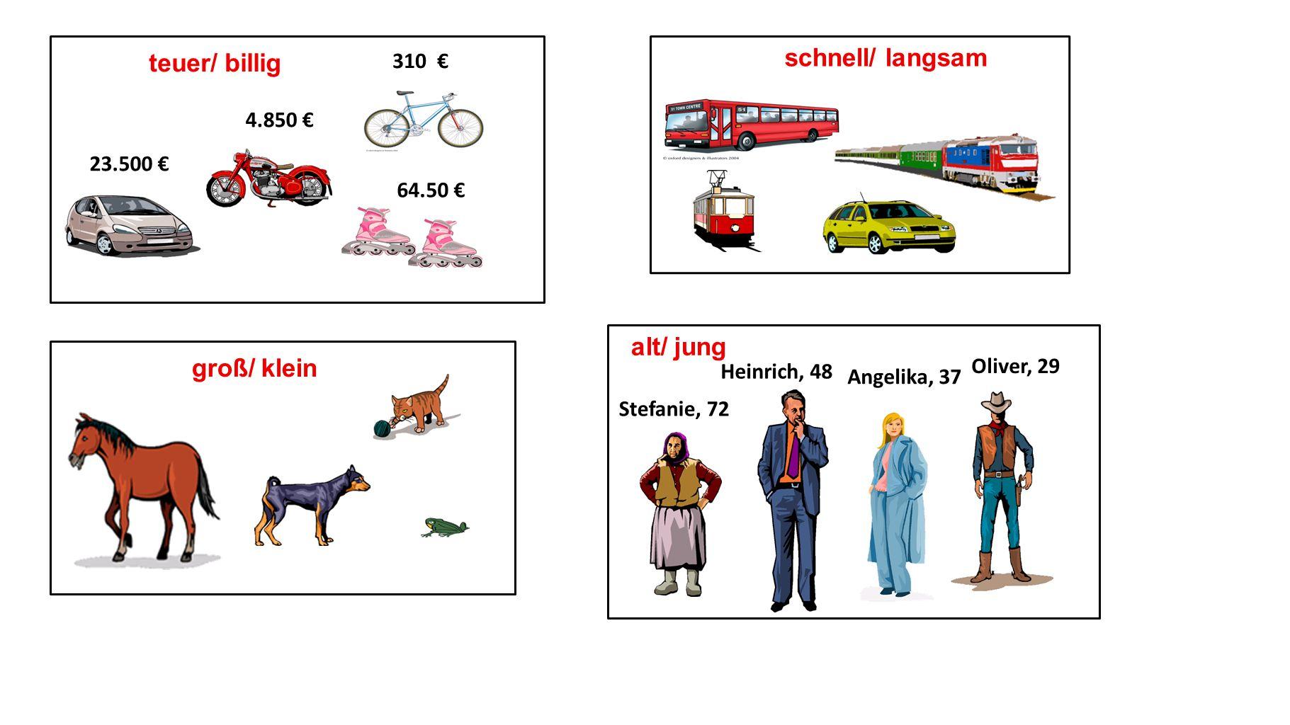 schnell/ langsam groß/ klein alt/ jung Stefanie, 72 Heinrich, 48 Angelika, 37 Oliver, 29 23.500 4.850 64.50 310 teuer/ billig