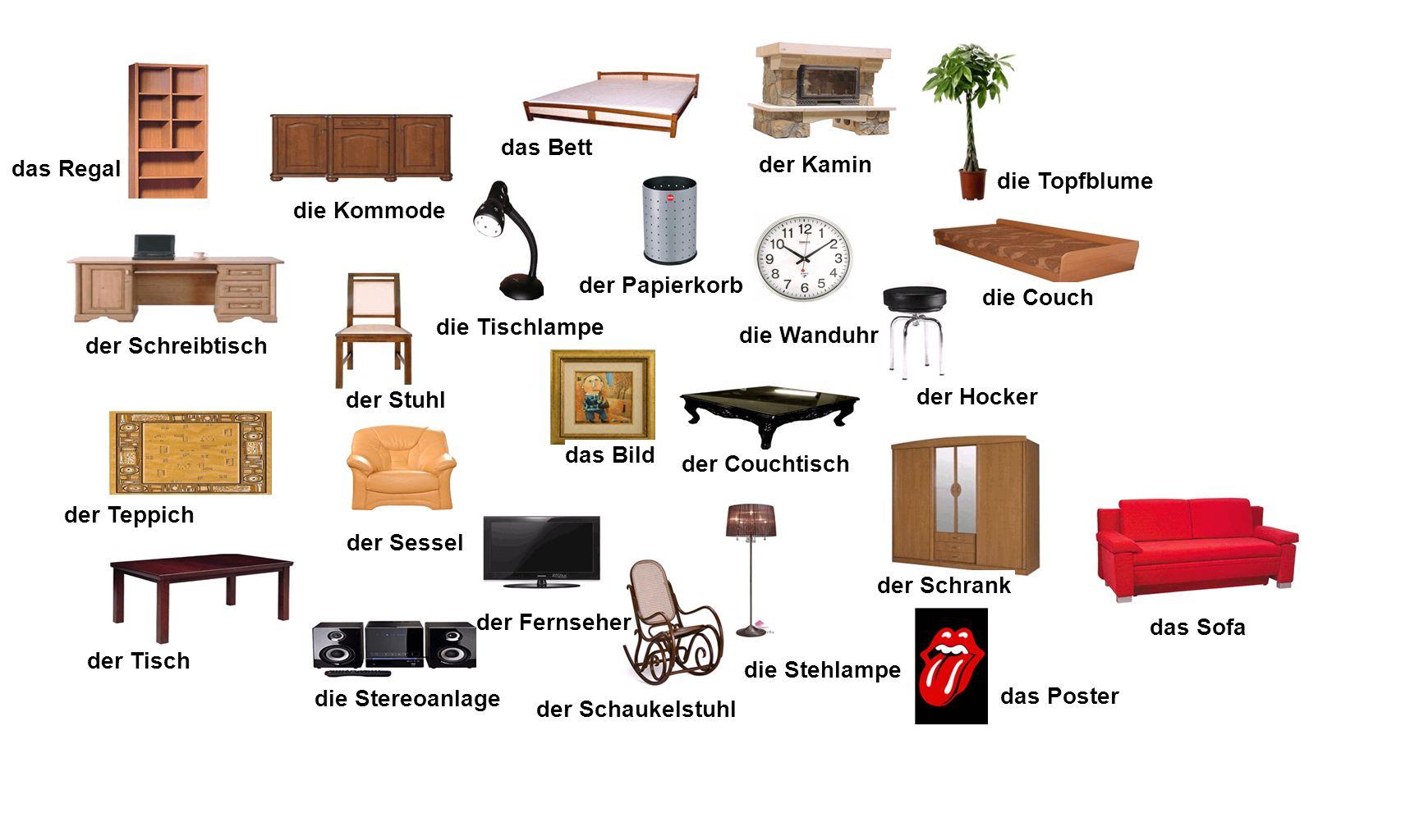 das Regal der Schreibtisch die Kommode das Bett der Stuhl das Bild die Tischlampe die Couch der Hocker der Couchtisch die Wanduhr die Topfblume das So