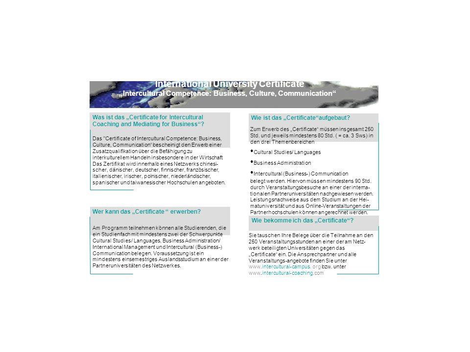 International University Certificate Intercultural Competence: Business, Culture, Communication Wer kann das Certificate erwerben.