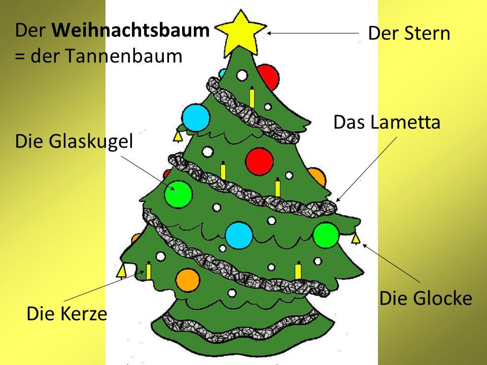 Der Weihnachtsbaum = der Tannenbaum Die Glocke Die Kerze Das Lametta Die Glaskugel Der Stern
