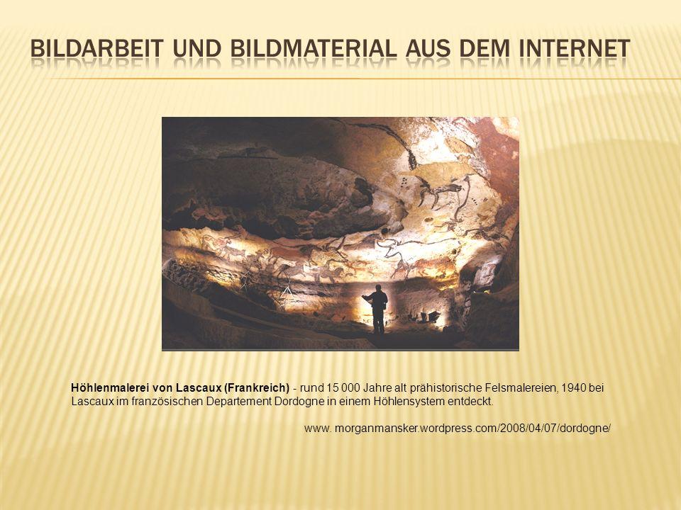 Höhlenmalerei von Lascaux (Frankreich) - rund 15 000 Jahre alt prähistorische Felsmalereien, 1940 bei Lascaux im französischen Departement Dordogne in