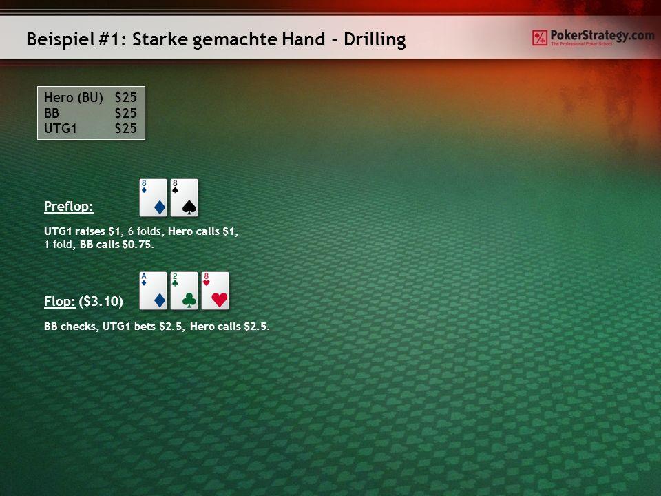 Beispiel #1: Starke gemachte Hand - Drilling Hero (BU) $25 BB $25 UTG1 $25 Hero (BU) $25 BB $25 UTG1 $25 Preflop: UTG1 raises $1, 6 folds, Hero calls $1, 1 fold, BB calls $0.75.