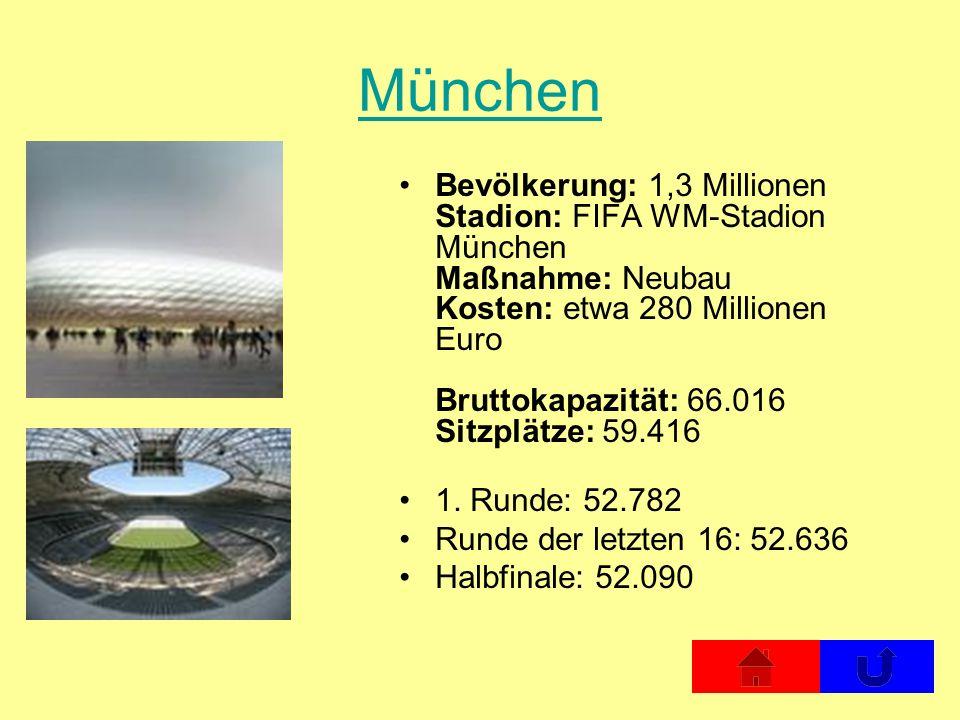 München Bevölkerung: 1,3 Millionen Stadion: FIFA WM-Stadion München Maßnahme: Neubau Kosten: etwa 280 Millionen Euro Bruttokapazität: 66.016 Sitzplätz