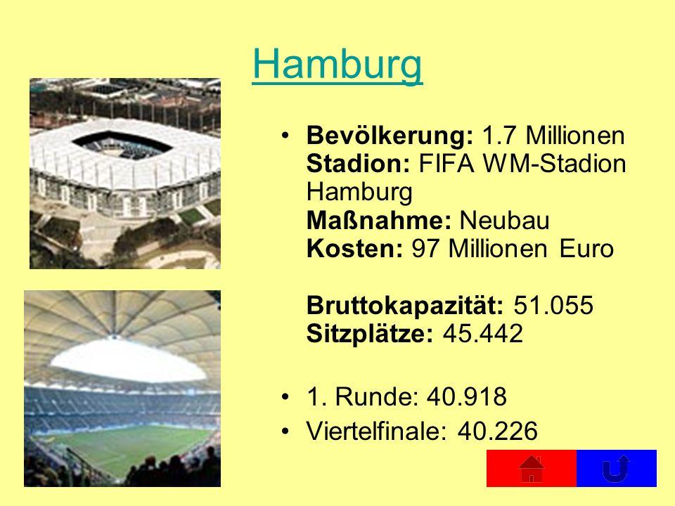 Hamburg Bevölkerung: 1.7 Millionen Stadion: FIFA WM-Stadion Hamburg Maßnahme: Neubau Kosten: 97 Millionen Euro Bruttokapazität: 51.055 Sitzplätze: 45.