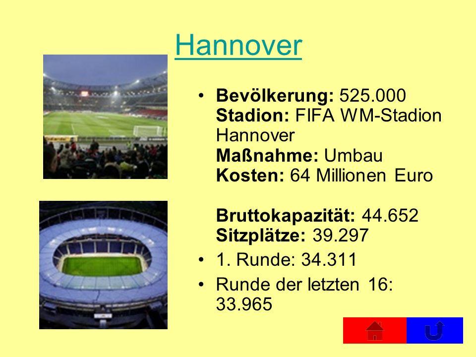 Hannover Bevölkerung: 525.000 Stadion: FIFA WM-Stadion Hannover Maßnahme: Umbau Kosten: 64 Millionen Euro Bruttokapazität: 44.652 Sitzplätze: 39.297 1