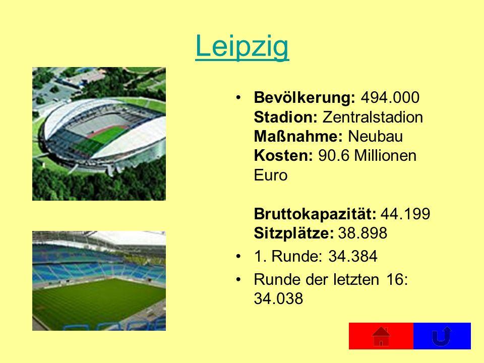 Leipzig Bevölkerung: 494.000 Stadion: Zentralstadion Maßnahme: Neubau Kosten: 90.6 Millionen Euro Bruttokapazität: 44.199 Sitzplätze: 38.898 1. Runde: