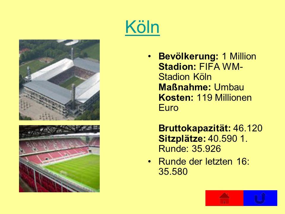 Köln Bevölkerung: 1 Million Stadion: FIFA WM- Stadion Köln Maßnahme: Umbau Kosten: 119 Millionen Euro Bruttokapazität: 46.120 Sitzplätze: 40.590 1. Ru