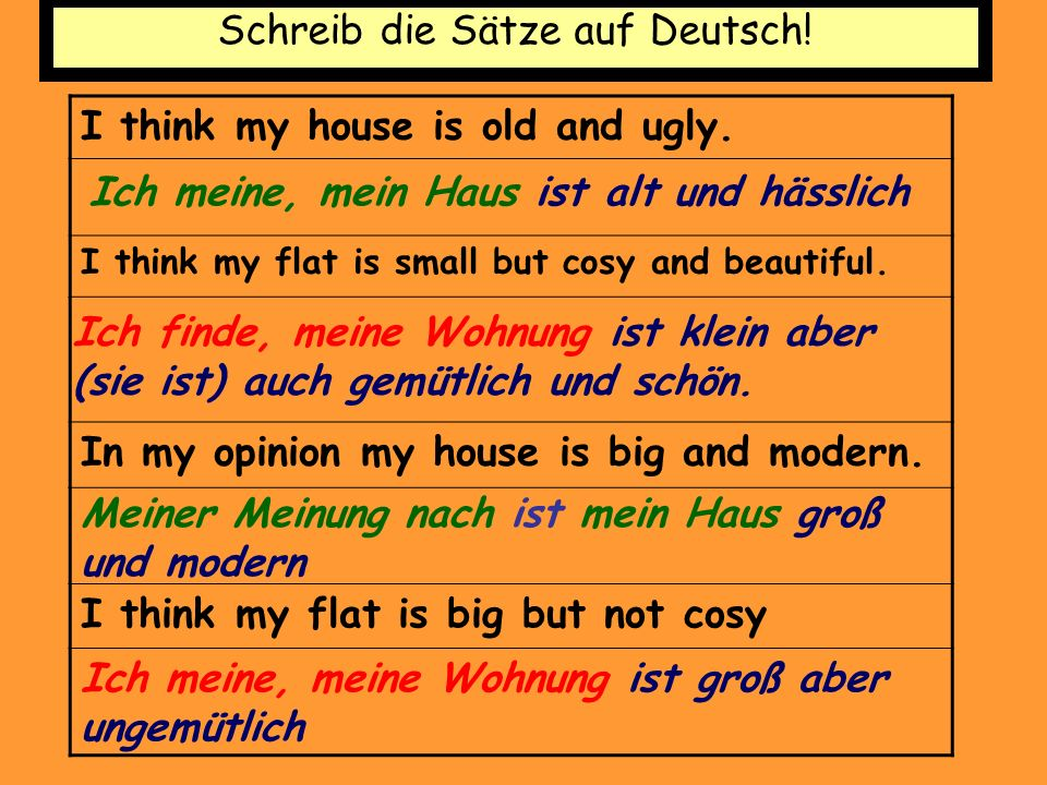 Schreib die Sätze auf Deutsch! I think my house is old and ugly. I think my flat is small but cosy and beautiful. In my opinion my house is big and mo