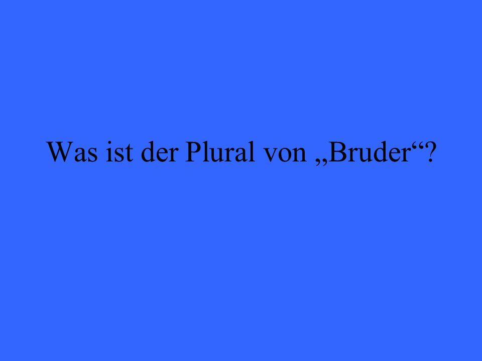 Was ist der Plural von Bruder?