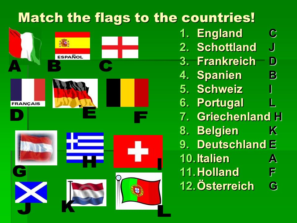 Match the flags to the countries! 1.England 2.Schottland 3.Frankreich 4.Spanien 5.Schweiz 6.Portugal 7.Griechenland 8.Belgien 9.Deutschland 10.Italien