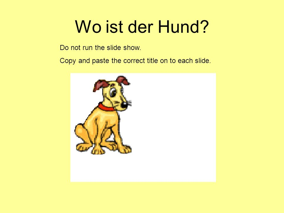 Wo ist der Hund? Do not run the slide show. Copy and paste the correct title on to each slide.