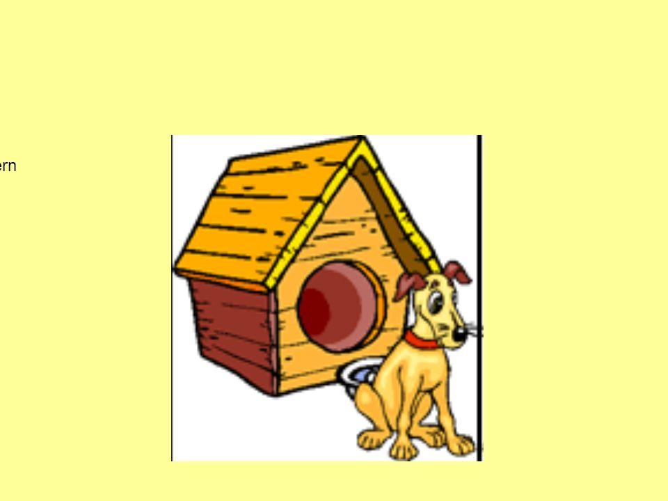 Der Hund ist vor dem Haus Der Hund ist hinter dem Haus Der Hund ist auf dem Haus Der Hund ist zwischen den Häusern Der Hund ist über dem Haus Der Hund
