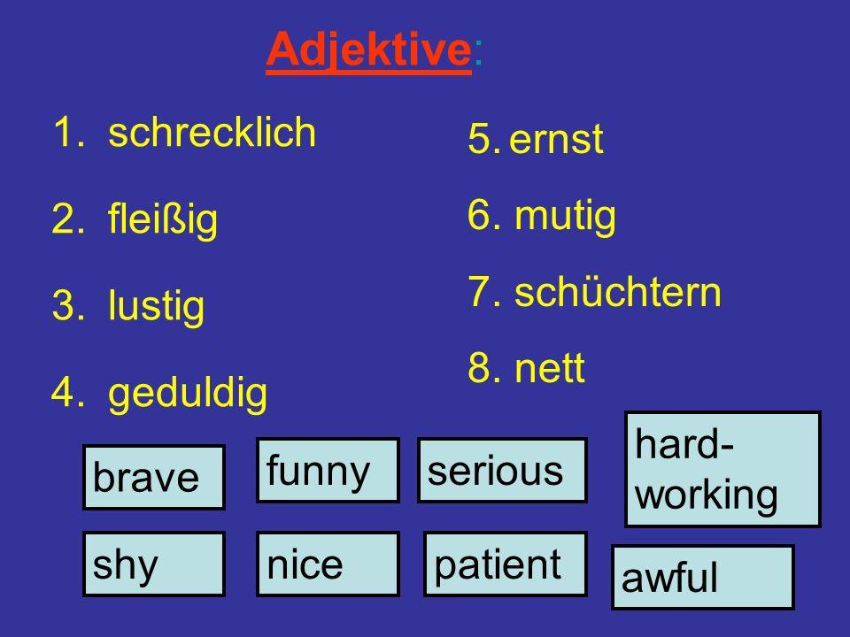 Adjektive: 1.schrecklich 2.fleißig 3.lustig 4.geduldig shynice funny brave hard- working patient serious awful 5.