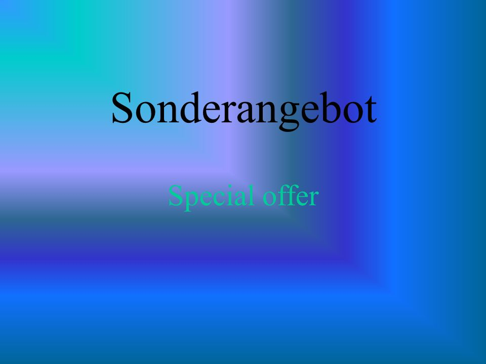 Sonderangebot Special offer