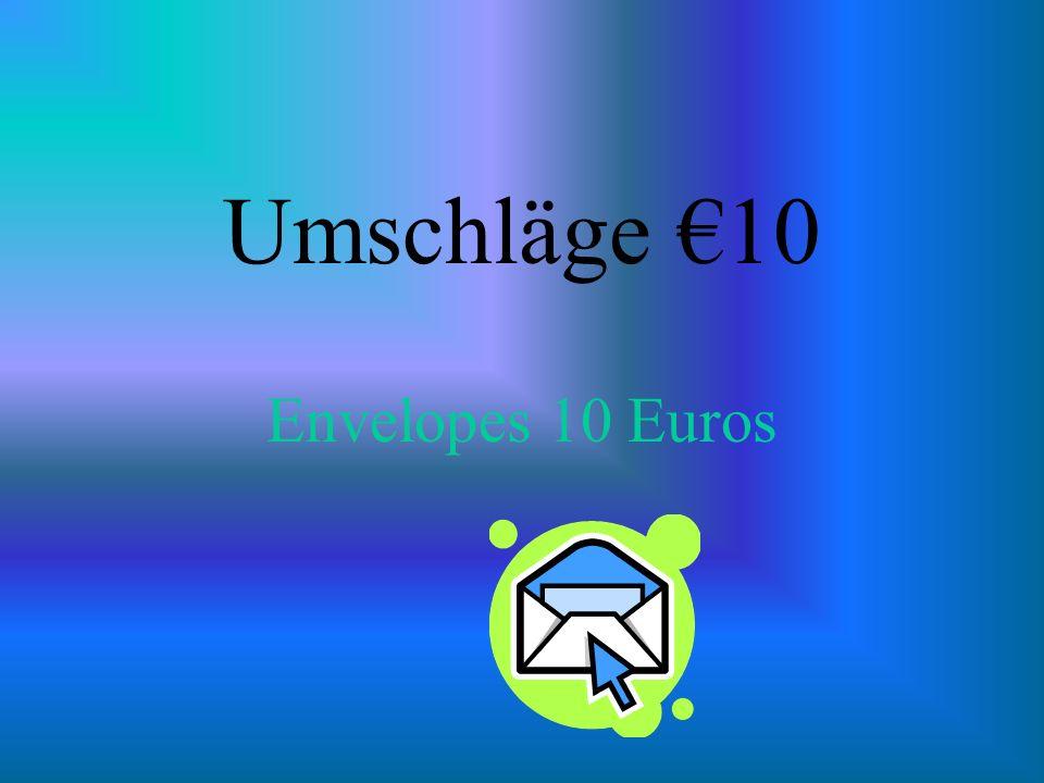 Umschläge 10 Envelopes 10 Euros