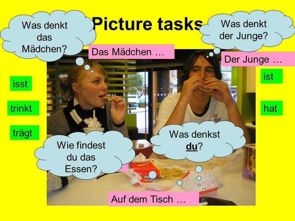 Picture tasks Das Mädchen … Der Junge … Auf dem Tisch … Es gibt ….