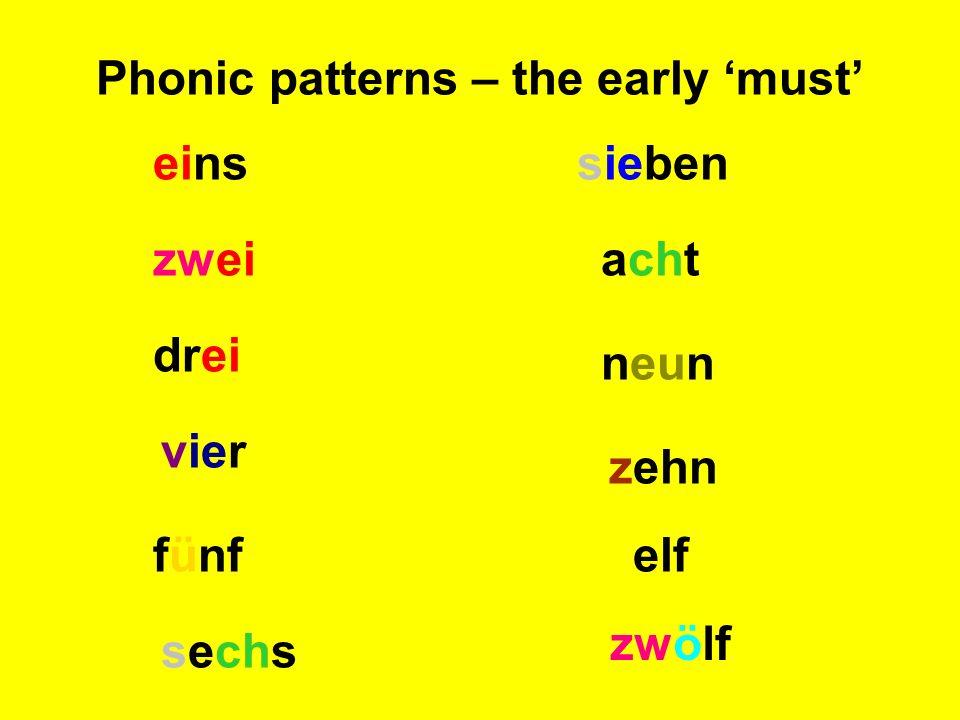 eins zwei drei vier fünf sechs sieben acht neun zehn elf zwölf Phonic patterns – the early must