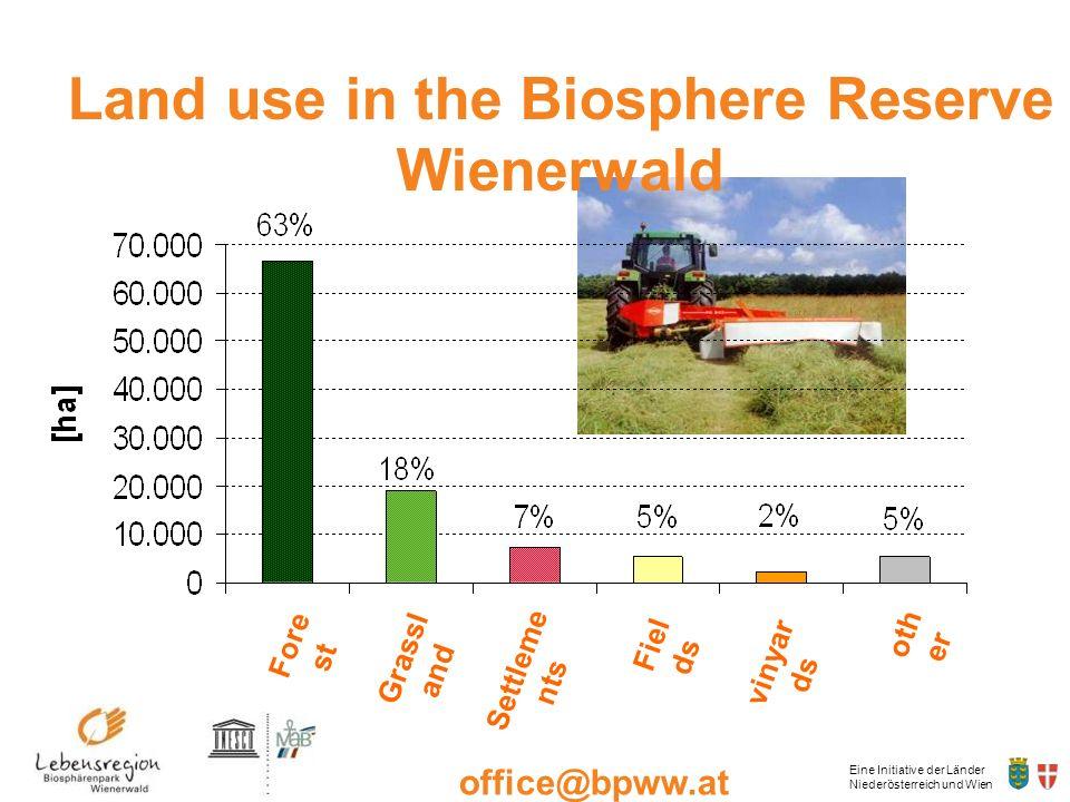 Eine Initiative der Länder Niederösterreich und Wien office@bpww.at www.bpww.at Land use in the Biosphere Reserve Wienerwald Fore st Grassl and Settle