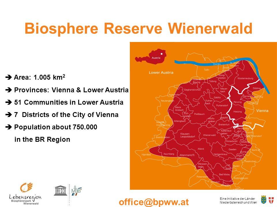 Eine Initiative der Länder Niederösterreich und Wien office@bpww.at www.bpww.at Biosphere Reserve Wienerwald Area: 1.005 km 2 Provinces: Vienna & Lowe