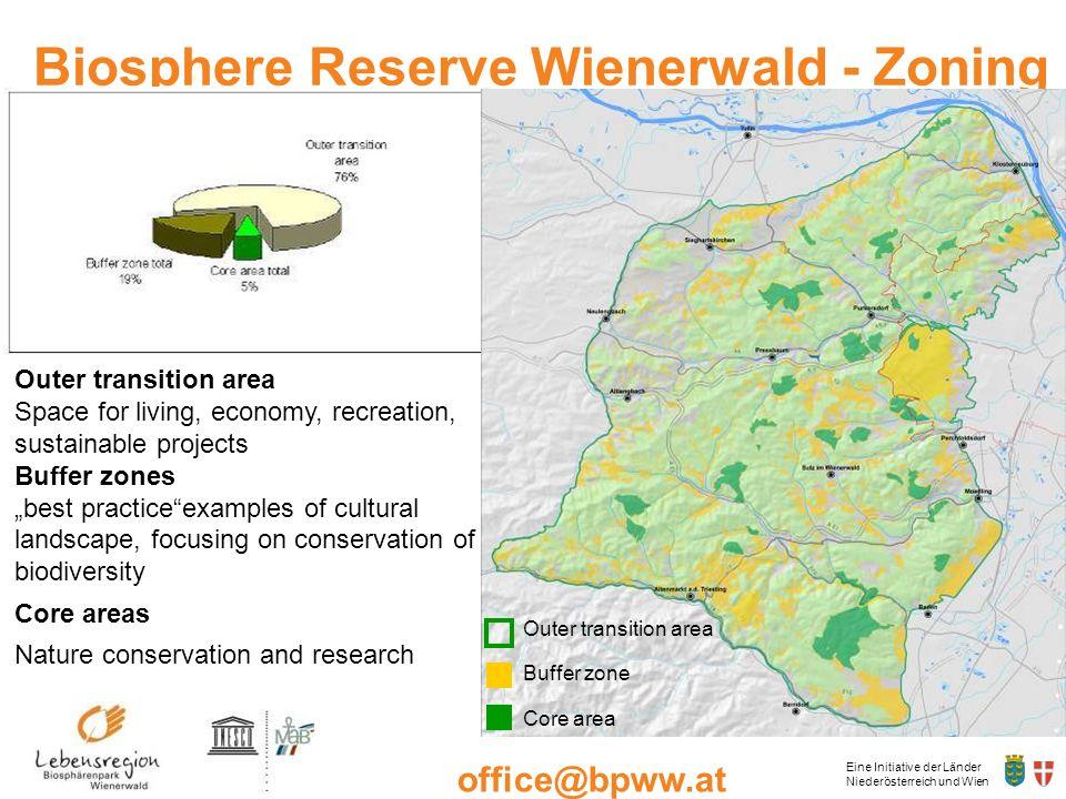 Eine Initiative der Länder Niederösterreich und Wien office@bpww.at www.bpww.at Biosphere Reserve Wienerwald - Zoning Outer transition area Space for